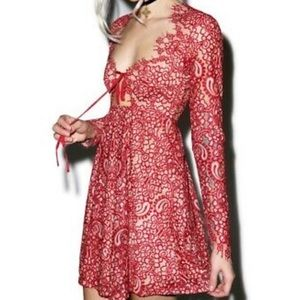 For Love and Lemons red lace dress